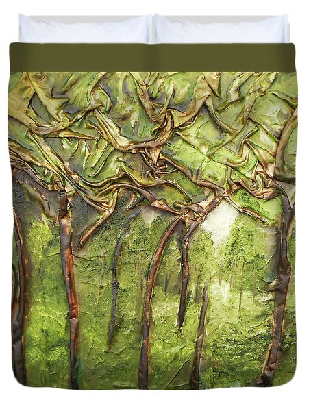 Grove Of Trees Duvet Cover by Angela Stout