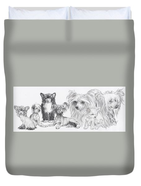 Growing Up Chinese Crested And Powderpuff Duvet Cover by Barbara Keith
