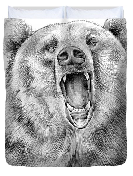 Growling Bear Duvet Cover