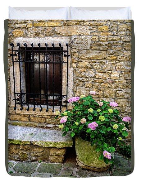 Groznjan Istrian Hill Town Stonework And Flowerpot - Istria, Croatia Duvet Cover