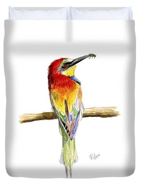 Duvet Cover featuring the painting Gruccione  - Bee Eater - Merops Apiaster by Raffaella Lunelli