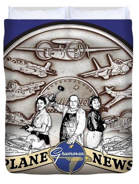 Grumman Plane News Duvet Cover