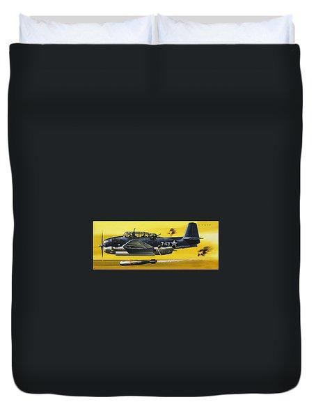 Grummen Tbf1 Avenger Bomber Duvet Cover by Wilf Hardy