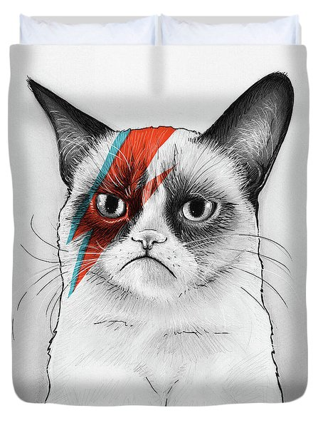 Grumpy Cat As David Bowie Duvet Cover