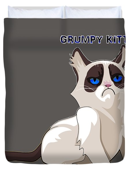 Duvet Cover featuring the digital art Grumpy Cat by Ericamaxine Price