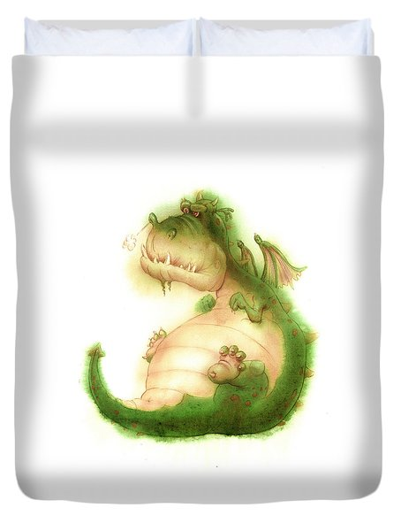 Grumpy Dragon Duvet Cover