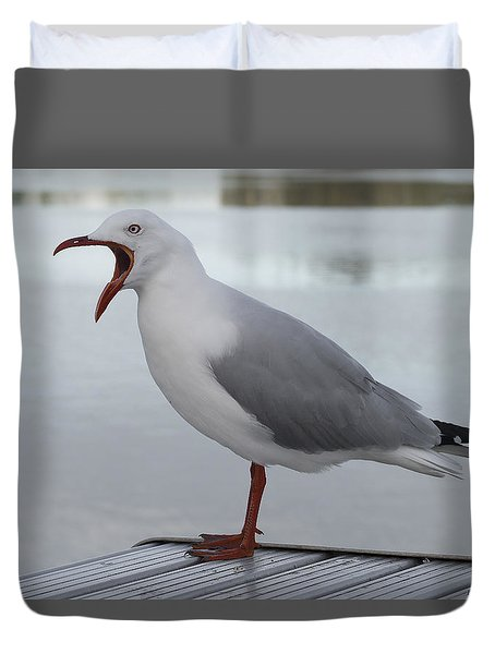 Duvet Cover featuring the photograph Grumpy Seagull 01 by Kevin Chippindall