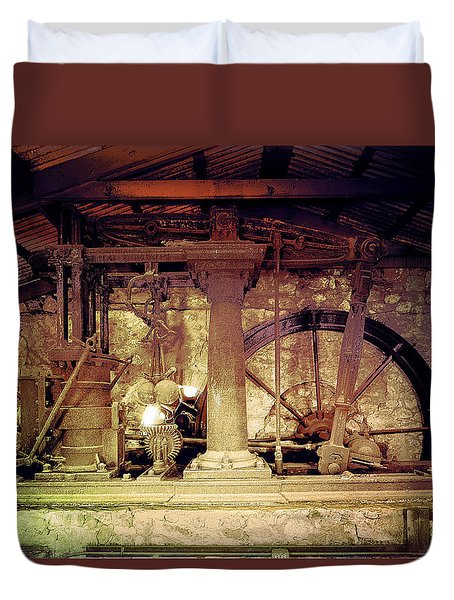 Duvet Cover featuring the photograph Grunge Cane Mill by Robert G Kernodle