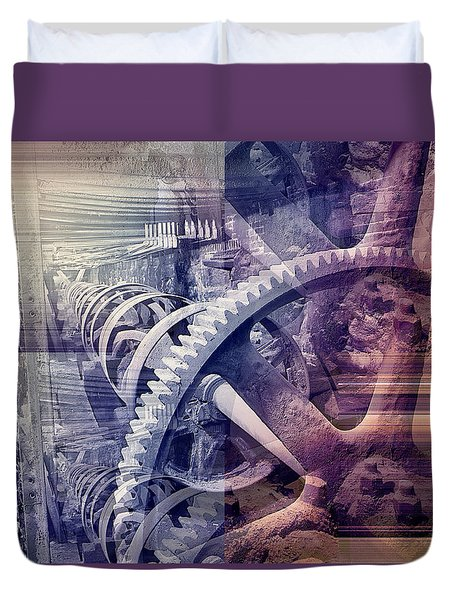 Duvet Cover featuring the photograph Grunge Gear Abstract by Robert G Kernodle