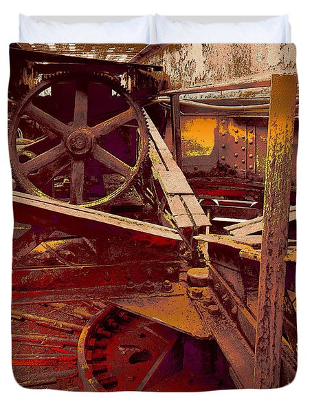 Duvet Cover featuring the photograph Grunge Gears by Robert Kernodle