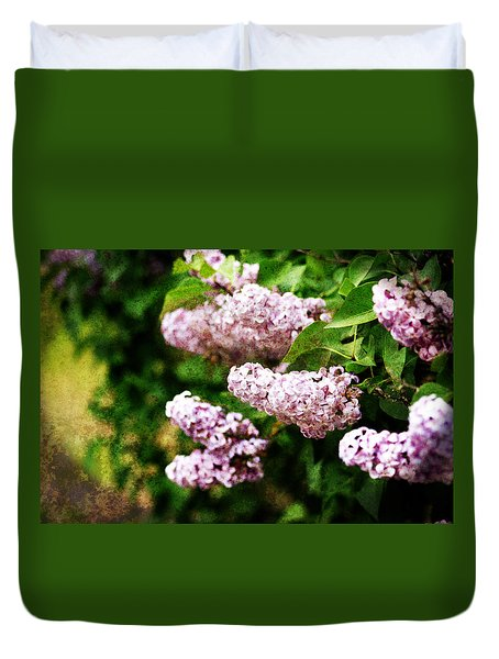 Duvet Cover featuring the photograph Grunge Lilacs by Antonio Romero
