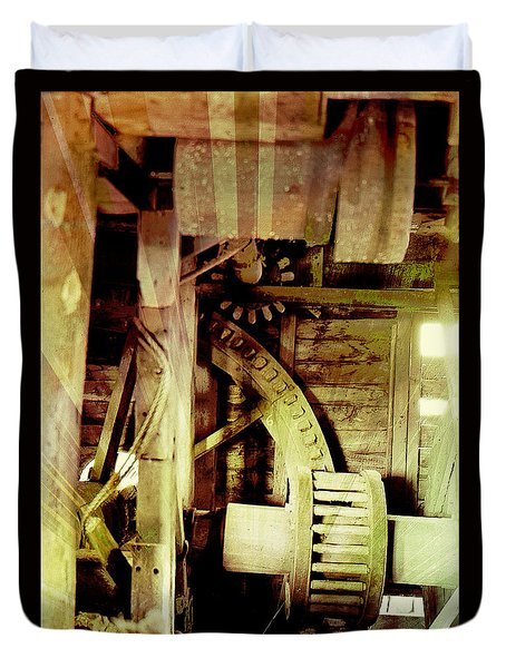 Duvet Cover featuring the photograph Grunge Mill Wheels by Robert G Kernodle