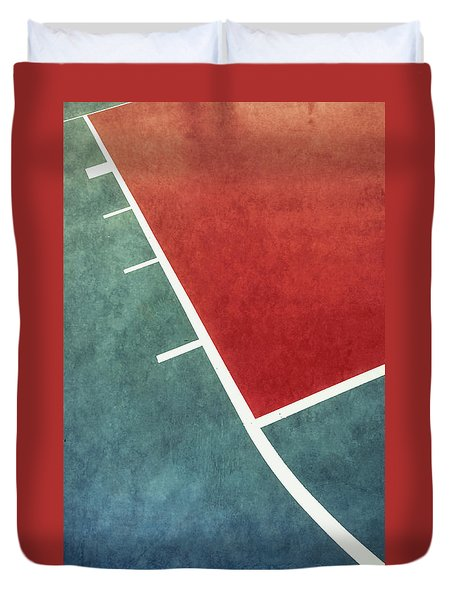Duvet Cover featuring the photograph Grunge On The Basketball Court by Gary Slawsky