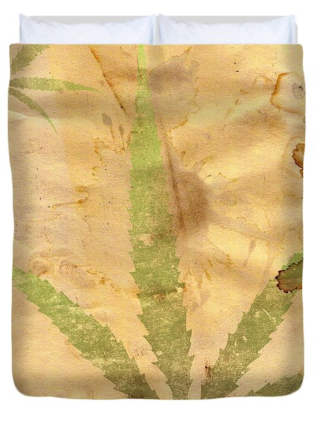 Grunge Paper With Leaf Of Grass Duvet Cover by Michal Boubin