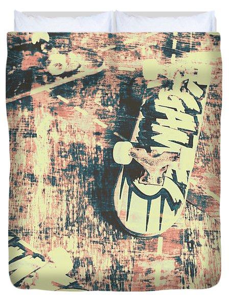 Grunge Skateboard Poster Art Duvet Cover