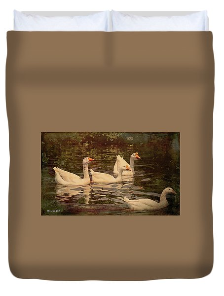Duvet Cover featuring the digital art Grungy Chinese Geese by Bonnie Willis