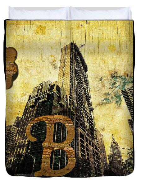 Grungy Melbourne Australia Alphabet Series Letter B Central Busi Duvet Cover