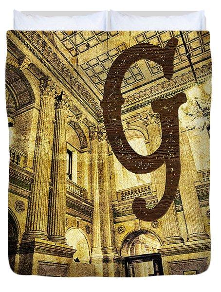 Grungy Melbourne Australia Alphabet Series Letter G Government P Duvet Cover