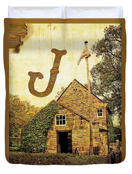 Grungy Melbourne Australia Alphabet Series Letter J Captain Jame Duvet Cover