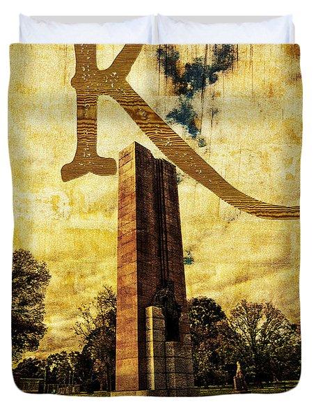 Grungy Melbourne Australia Alphabet Series Letter K Kings Domain Duvet Cover