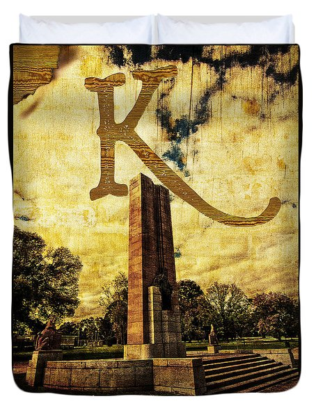 Grungy Melbourne Australia Alphabet Series Letter K Kings Domain Duvet Cover