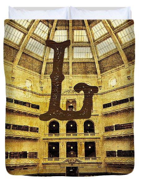 Grungy Melbourne Australia Alphabet Series Letter L State Librar Duvet Cover