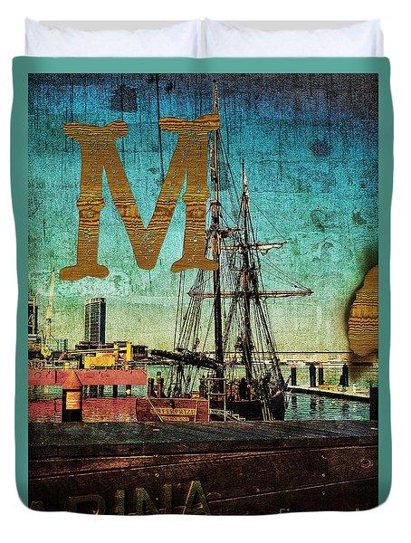 Grungy Melbourne Australia Alphabet Series Letter M Marina Dockl Duvet Cover