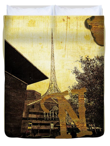 Grungy Melbourne Australia Alphabet Series Letter N National Gal Duvet Cover