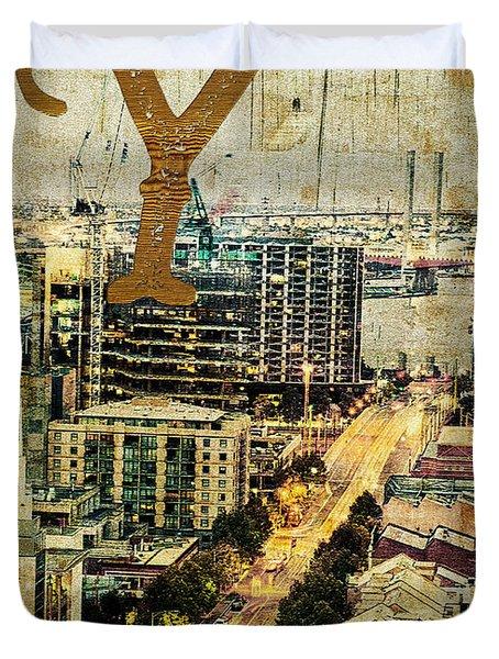 Grungy Melbourne Australia Alphabet Series Letter Y Yarra River Duvet Cover