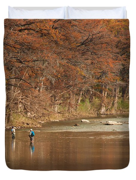 Guadalupe River Fly Fishing Duvet Cover