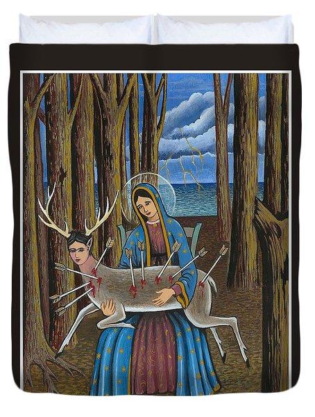 Guadalupe Visits Frida Kahlo Duvet Cover