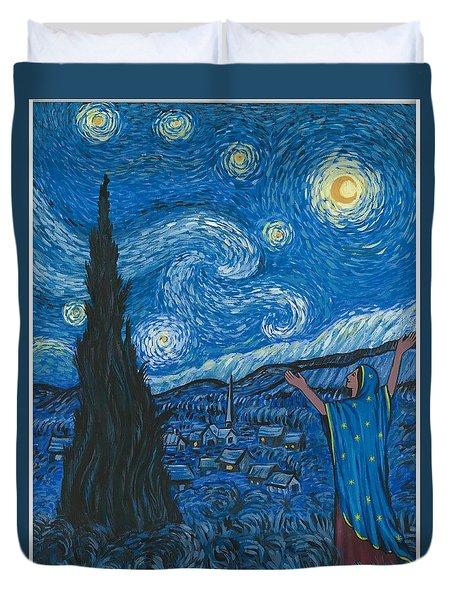 Guadalupe Visits Van Gogh Duvet Cover