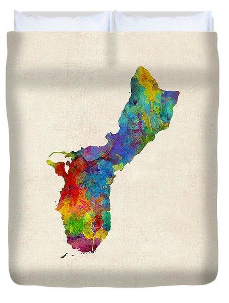 Guam Watercolor Map Duvet Cover