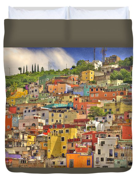 Guanajuato Hillside Duvet Cover by Juli Scalzi