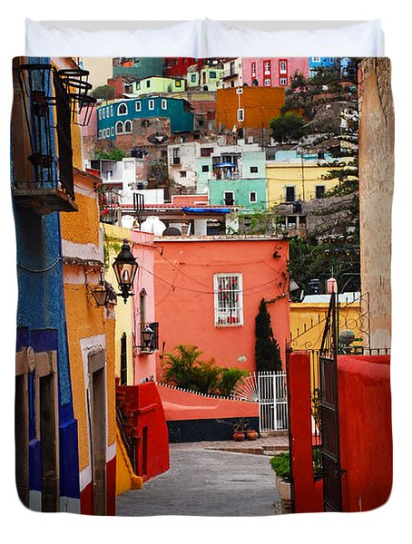 Duvet Cover featuring the photograph Guanajuato Lane by Skip Hunt