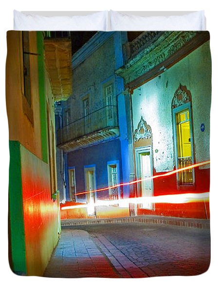 Duvet Cover featuring the photograph Guanajuato Night by Skip Hunt