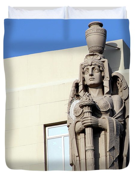 Guardian Angel And Blue Duvet Cover