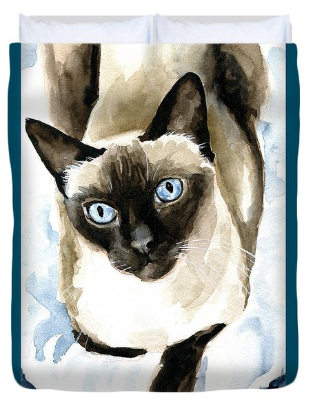 Guardian Angel - Siamese Cat Portrait Duvet Cover