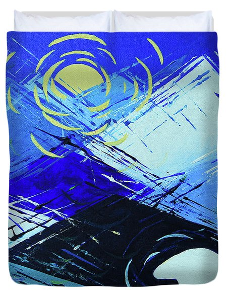 Duvet Cover featuring the painting Guardian Bear Winter by Jeanette French