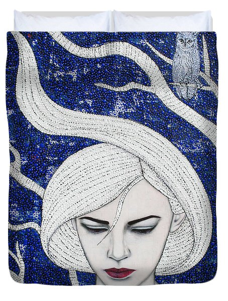 Duvet Cover featuring the mixed media Guardian Of The Night by Natalie Briney