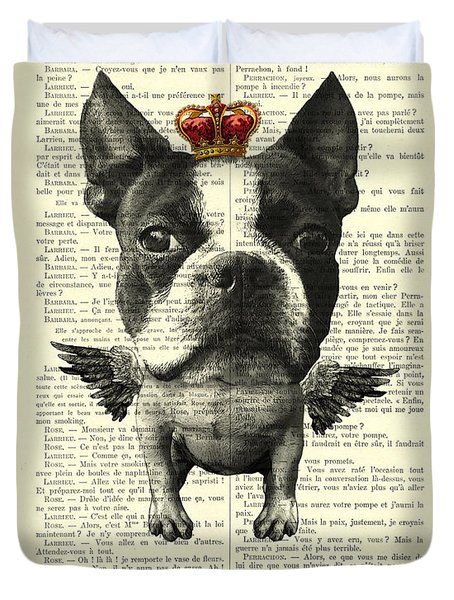 Boston Terrier With Wings And Red Crown Vintage Illustration Collage Duvet Cover