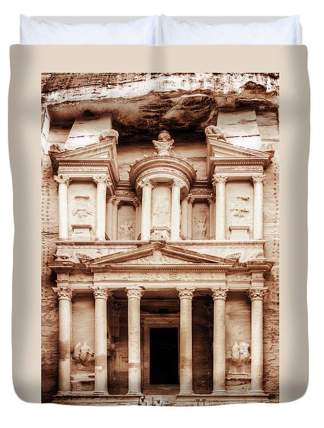 Guarding The Petra Treasury Duvet Cover by Nicola Nobile