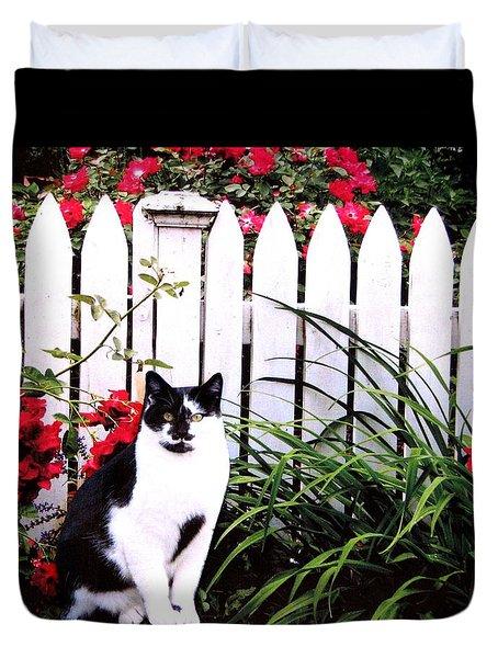 Guarding The Rose Garden Duvet Cover by Angela Davies