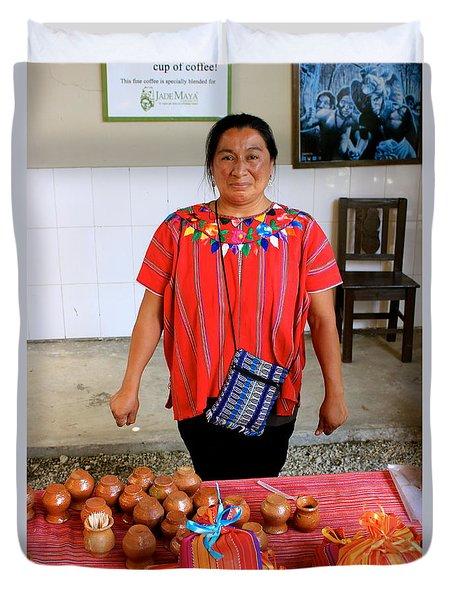 Guatemala Mayan Coffee Vendor Duvet Cover