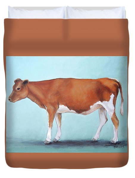 Guernsey Cow Standing Light Teal Background Duvet Cover