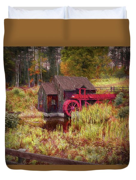 Duvet Cover featuring the photograph Guildhall Grist Mill In Fall by Jeff Folger