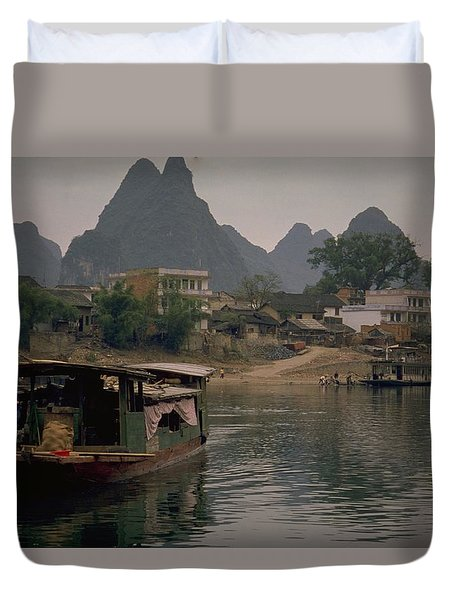 Guilin Limestone Peaks Duvet Cover by Travel Pics