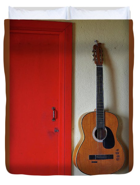 Guitar And Red Door Duvet Cover