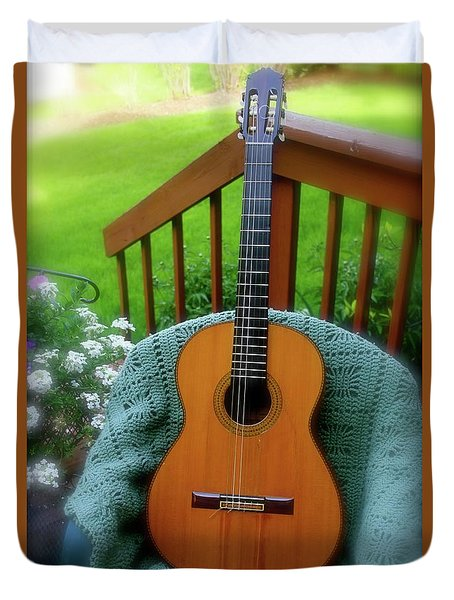 Guitar Awaiting Duvet Cover