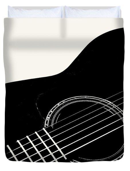 Guitar, Black And White,  Duvet Cover